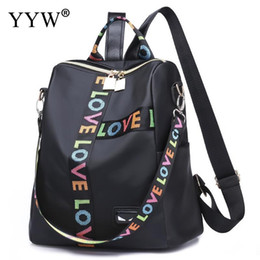 b29dcf873542 Discount letter backpacks - Pu Leather Multifunction Backpack Women Letter  Soft Rucksack Black Schoolbag For Teenage