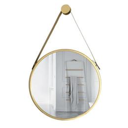 folhas de plástico redondas Desconto Moda da Europa do Norte Hotel Banho de suspensão do espelho forma redonda 25 centímetros de diâmetro Metal Frame Dourado Estúdio Fotográfico Decoração para Cosmetic