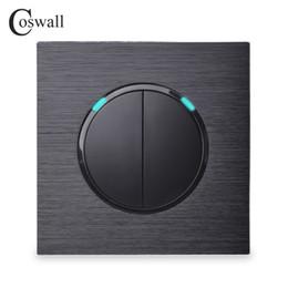 Coswall Luxurious 2 Gang 1 Way Random Click Interruttore a muro con interruttore a LED con indicatore a LED Pannello in alluminio nero scuro supplier gang wall switch black da interruttore a parete della banda nera fornitori