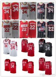 fusées rouges Promotion Hommes Houston 34 Hakeem Olajuwon 22 Clyde Drexler Throwback Maillots De Basket-ball Blanc Rouge Noir Marine Rockets