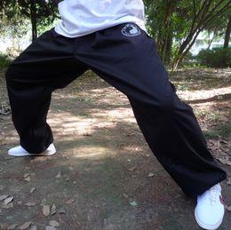 ropa tai chi xxl Rebajas Nueva llegada Negro Tai chi pantalones hombres mujeres tai chi ropa 100% pantalones de algodón, arte marcial chino wu shu kung fu pantalones