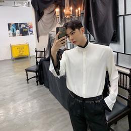 Men Silk Satin Ruffle Shirt Tops Long Sleeve Clothe Retro Host Party Show Singer