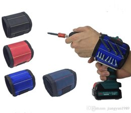 Commercio all'ingrosso Magnetic Wristband Pocket Tool Belt Pouch Bag Viti Holder Strumenti di partecipazione Magnetic bracelets Practical forte Chuck polso Toolkit da