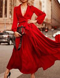 2019 Nouveau modèle chaud tempérament européen et américain élégant rouge violet V col robe sexy de la mode fille ? partir de fabricateur