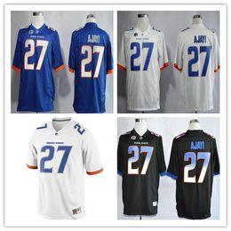 Boise estado broncos # 27 jay ajayi colégio futebol jérsei preto branco azul ncaa costurado jersey s-3xl de Fornecedores de jérseis azuis pretos de jay