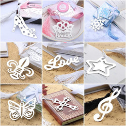 packaging bookmarks Promo Codes - Metal Bookmark with Tassel Markers Wedding Souvenirs Baby Shower Party Favors with Gifts Box Packaging 23 Designs