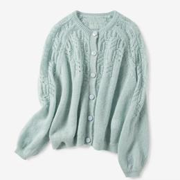New aushöhlen Crochet Strickjacke Frauen O Ausschnitt Pullover Solid Color Einreiher gestrickten Pullover Jacke