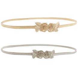 Deutschland Seabigtoo Roses Metallgürtel für Frauen elastische Gürtel weibliche Gold Silber Taille Kette dünne hochwertige Bekleidungszubehör cheap silver metal roses Versorgung