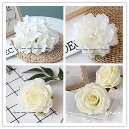 100pcs White Color Artificial Flower Head Wedding Rose Peony Hydrangea Bridal Bouquet Wedding Decoration Diy Home Party Fake Flowers