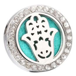 Snap pad on-line-Perfume Medalhão Mão Snaps Magnético Aço Inoxidável Difusor de Aromaterapia Óleo Essencial 18mm Botão Snap Jóias com 1 pcs Pad