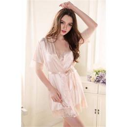 8b50622368e sexy pink silk robe Canada - Sexy Women Nightgown Sleepwear Female Silk Robe  Twinset Lounge Sets