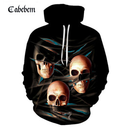 anime ropa masculina Rebajas 2019 Hombres Skull Hoodies Hip Hop Hoodie Punk Ropa para hombre RockGun 3D hoodies Sudaderas Hombres Hombres Streetwear Anime