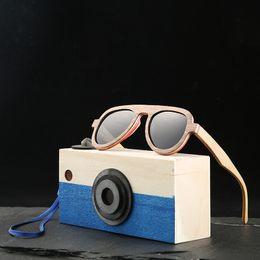 2019 chica de gafas de madera Gafas de sol piloto de Angcen gafas polarizadas Gafas de sol para niños y niñas Gafas de sol de bambú de madera vintage Con estuche de vidrio de madera chica de gafas de madera baratos