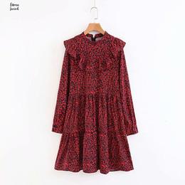 vestido de lã de lã vermelho longo Desconto Mulheres manga comprida vestido de festa Red Leopard Print Mini Vintage Vestido Outono Senhoras elegantes Vestidos Chic Casual roupas de grife magros