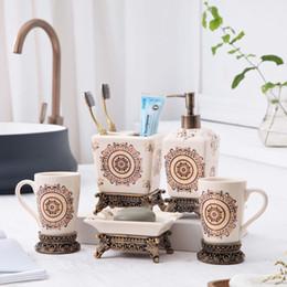 set di regali per il bagno Sconti Creativo Ice Crack Ceramica Set da bagno Bagno 5 pezzi Set doccia Set regalo di nozze Set da bagno Lavaggio confezione regalo