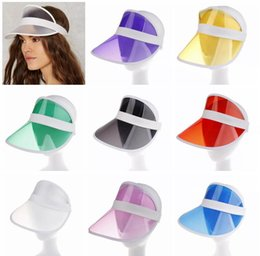 plastic sun visors NZ - Women Sun Hats for Summer 10 colors Mens Designer  Transparent Plastic 9ffe821b9c3f