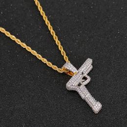 armi a colori Sconti New Hip Hop oro argento placcato color rame Iced Out Micro pavimentato CZ Gun Pendant Necklace Men Charm Jewelry