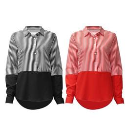 4adf8990c1e664 Chinese Women Plus Size Long Sleeves Chiffon Blouse Color Block Patchwork Vertical  Stripes Shirt Lapel Collar