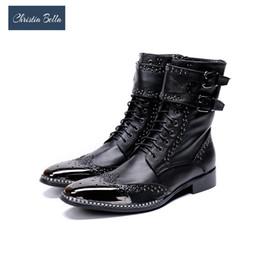 Spitze stiefel marken für männer online-Großhandel Brand New Men Schuhe Spitzen Metall Ritterstiefel Männer zapatos de hombre Schwarz Echtes Leder Kampfstiefel Männer