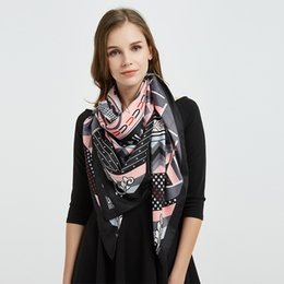 ladies silk christmas scarves Coupons - 2019 New Twister Lady Christmas Gift Knight Black Twisted Silk Sunscreen Fashion Fashion Printed Shawl Scarf
