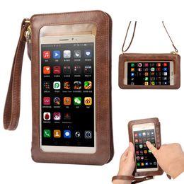 NUEVO Funda de piel con pantalla táctil + Bolso pequeño bandolera + Bolso billetera para iPhone 5 5s SE 6 6s plus 4 4s Bolso para teléfonos celulares desde fabricantes
