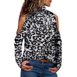 aa5c294fb9 ladies leopard print blouse Promo Codes - Women Fashion High-Neck Off  Shoulder Leopard Print
