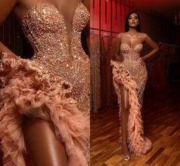 vestido sexy de lily collins Rebajas Árabes pierna alta Dividir vestidos de baile 2020 Sexy lentejuelas brillantes de cristal formal largo de los vestidos de noche de novia vestido de las colmenas del desfile AL3392