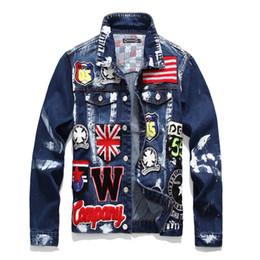 Мужская тонкая джинсовая куртка ветер больше значки череп краска джинсовая куртка с длинным рукавом Мужская белая дизайнерская толстовка с капюшоном толстовка свитер пуловер от