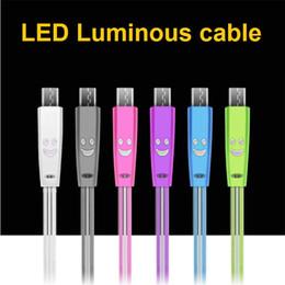 1 M / 3FT Görünür Işık LED Işık up Mikro USB şarj data sync kablosu hızlı şarj flaş kablosu Samsung Android cep telefonu için I5 I6 I7 X nereden