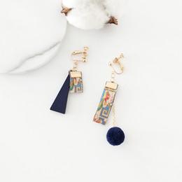 Украшения ретро этническая вышивка мы ленты деревянные асимметричные серьги красивый образец девушка шпильки женский Earringsl от
