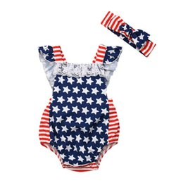 Headband do romper do macaco on-line-Baby Girl Lace Romper Bandeira Americana Independence National Day EUA 4 de julho Estrela Stripe Lace Triangle Jumpsuit Com Headband