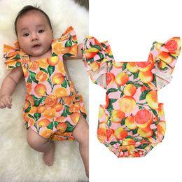 d4d9c4813 Ropa de diseñador para niños Niñas Flying Manga Romper Infant Toddler  Orange Flower Jumpsuits 2019 Boutique de Verano Bebé Ropa de Escalada B11