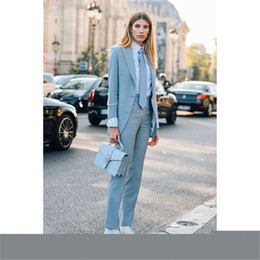 Sky Blue Women Business Suits Formal Work Slim Office Uniform Styles 2 Piece Jacekt+pant Custom Made Pants Suit 116 Back To Search Resultswomen's Clothing