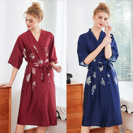 womens plus size pajamas Coupons - Brides Bridesmaids Robes Wedding Pajamas Plus Size Bathrobes Womens Sexy Sleepwear Long Nightgowns Silk Casual Dresses New Arrival