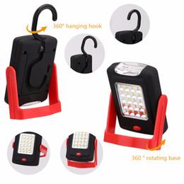 linterna de camping gancho Rebajas en stock ship LED Light Flashlight LED Portable Torch Lantern Luz de trabajo 23 LED 2 modos Lámpara de bicicleta de camping con imán incorporado Gancho