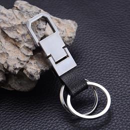 catene di modelli catena Sconti Portachiavi in pelle nera di alta qualità con doppio cerchio in metallo argentato