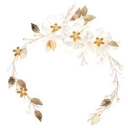 2019 flor pérola cabeça nupcial Cabelo Handmade Pérola Flower Soft Cabeça Jóias White Pearl Folha Acessórios do casamento Acessórios nupcial desconto flor pérola cabeça nupcial