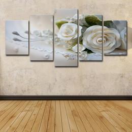 Hd pinturas florales online-5 piezas rosas blancas flores pinturas pared arte HD impresión lienzo pintura moda colgar cuadros