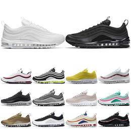 hot sales 63488 0bfb1 2019 max arts nike air max 97 Black Bullet Metalic Gold jaune hommes  chaussures de baskets
