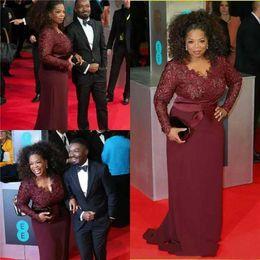 Vestido de renda longa dreses vermelho on-line-Reed carpet vestidos sexy borgonha lace chiffon longo mãe de noiva dreses plus size vestidos de noite formais