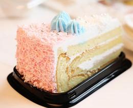 pastelería pastelería Rebajas 500 Unids Desechables De Plástico Transparente Queso triángulo Torta Postre Cajas De Plástico Bandeja de Recogida de Pastelería para Pastelería Panadería Postre Cajas de exhibición