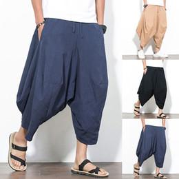 8d3c37577c4 Plus Size 4XL Men Casual Pants Cotton Wide Leg Harem Pants Retro Loose  Joggers Trousers Men Drop Crotch Solid Hip-hop