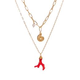 2019 colar de gargantilha de pérolas de ouro Designer de colar de jóias de 17 estilos multi camadas colares mulheres gargantilha com shell pérola starfish pingente banhado a ouro mar seriados NE961 colar de gargantilha de pérolas de ouro barato