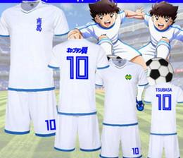 Costumes de capitaine en Ligne-Capitaine Tsubasa Nankatsu École primaire Football Vêtements Ensembles No.10 Tsubasa Ozora Cosplay Blanc Maillot De Football Maillot