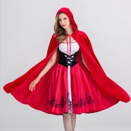 Chapeuzinho Vermelho Traje Para As Mulheres Fantasia Adulto Halloween Cosplay Fantasia Vestido + Manto Traje Cosplay Para O Partido de