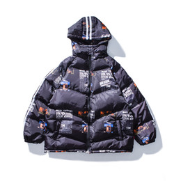 Хип-хоп танцевальные куртки онлайн-Winter men down jacket hip hop rap street dance printed letters hooded jacket thickened couple cotton-padded jacket