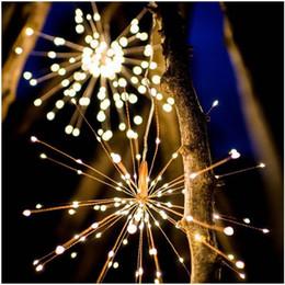 Luces de cadena de colores al aire libre online-fuegos artificiales explosión llevó la lámpara solar de Navidad de fuegos artificiales de la lámpara lámpara de la secuencia del alambre de cobre al aire libre Patio de luces de colores decorativos