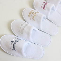 High Quality Brides Bridesmaid Slippers Wedding Bridal Shower Party Gift Maid of Honor Newlywed Bachelorette Party Favors free shipping