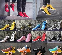 Canada Humain Race Hu trail chaussures de sport 2018 Vente en gros Hommes Femmes Pharrell Williams Jaune noyau d'encre noble Noir Rouge en plein air Chaussure grand Euro 36-47 cheap ink Offre