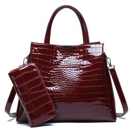 bolsa vermelha em couro de patente Desconto Capa de Couro de crocodilo Mulheres Bag Black Red Mulheres Bolsas Set Grande Capacidade Shoulder Bag Feminino Tote Bags + carteira